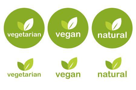 set of green vegetarian vegan and natural tags icons vector illustration EPS10 일러스트