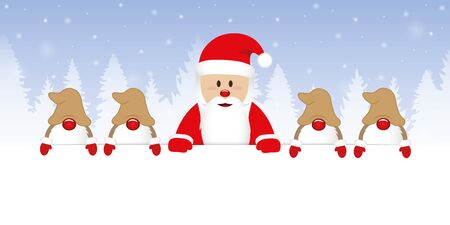 cute happy santa claus with his gnomes white banner and blue snowy background vector illustration EPS10