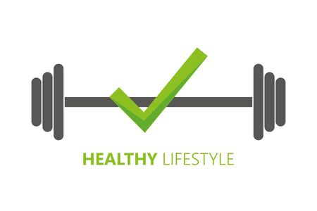 healthy lifestyle symbol with check and barbell vector illustration EPS10