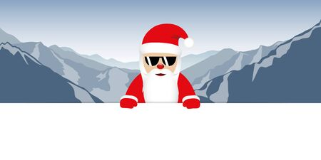 cool happy santa claus with glasses on mountain background vector illustration EPS10 일러스트