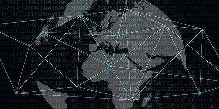 digital network world with binary code background vector illustration EPS10 Zdjęcie Seryjne - 130788982