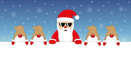 cute happy santa claus with glasses and his gnomes white banner and snowy background vector illustration EPS10 Zdjęcie Seryjne - 130789029