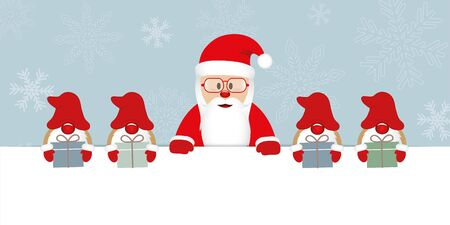 santa claus with glasses and his helper gnome with gifts christmas cartoon vector illustration EPS10 Zdjęcie Seryjne - 130789026