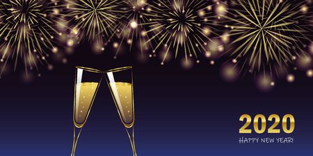 happy new year 2020 golden firework and champagne glasses greeting card vector illustration EPS10