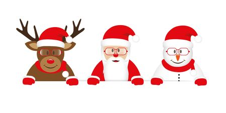 cute reindeer santa and snowman cartoon with glasses white banner vector illustration EPS10 Stock Illustratie