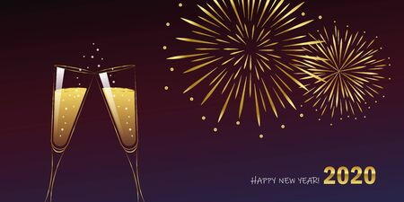 happy new year 2020 celebration fireworks and champagne vector illustration Ilustração