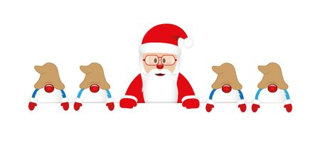 cute happy santa claus with glasses and his gnomes white banner vector illustration EPS10 Stock Illustratie