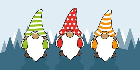 three cute christmas gnomes with funny caps cartoon vector illustration EPS10
