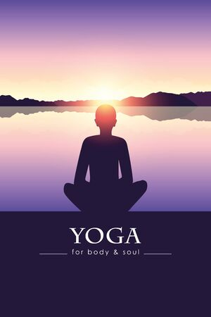 yoga for body and soul meditating person silhouette by the lake with mountain landscape vector illustration EPS10 일러스트