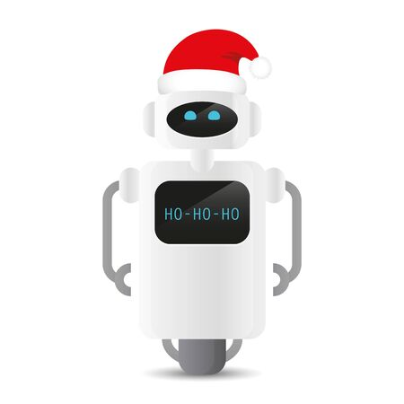 cute robot with red santa hat christmas design vector illustration Ilustração