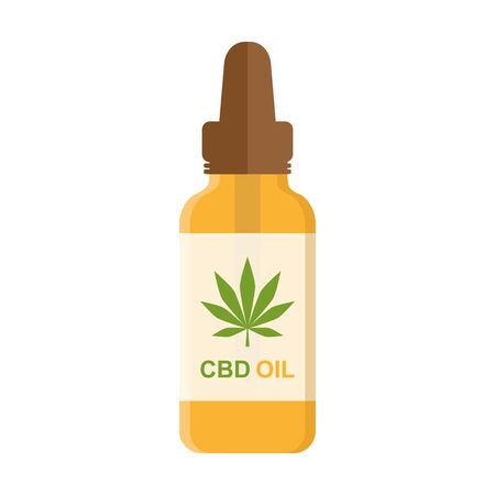 cbd oil phial with cannabis leaf isolated on white background vector illustration 写真素材 - 131968260