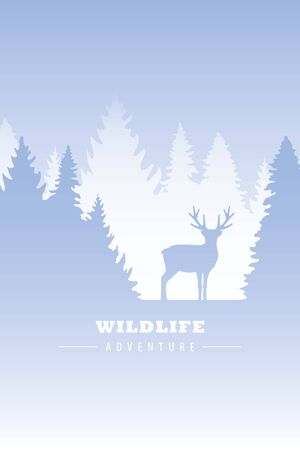 wildlife adventure elk in the wilderness in winter vector illustration