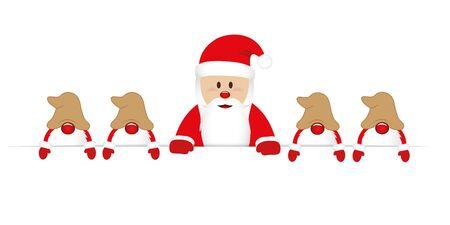 smiling happy santa claus and his helper gnome christmas cartoon vector illustration EPS10