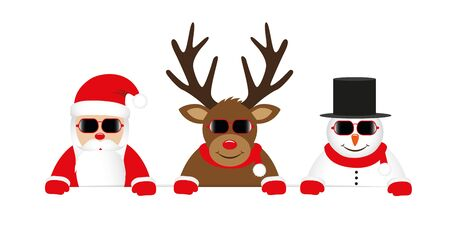 cute reindeer santa claus and snowman cartoon with sunglasses for christmas vector illustration 写真素材 - 131968304