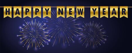 happy new year golden party flags banner with firework background vector illustration EPS10 Stock Illustratie