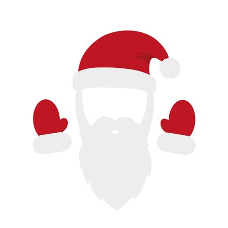 santa claus red costume with beard cap and gloves vector illustration