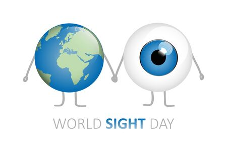 world sight day blue eye and earth holding hands cartoon vector illustration Ilustracja