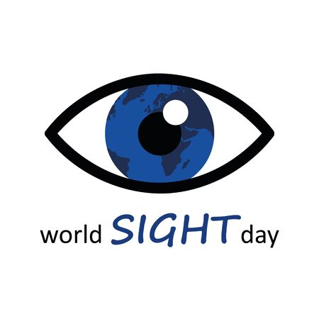 world sight day blue eye and earth icon vector illustration 写真素材 - 131968319