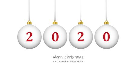white christmas balls 2020 happy new year vector illustration EPS10