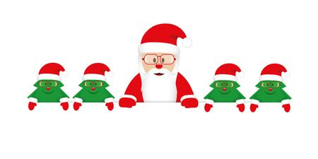 cute happy santa claus with little christmas trees with glasses vector illustration EPS10 Stock Illustratie