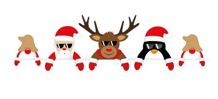cute santa reindeer penguin and gnomes with sunglasses christmas banner vector illustration