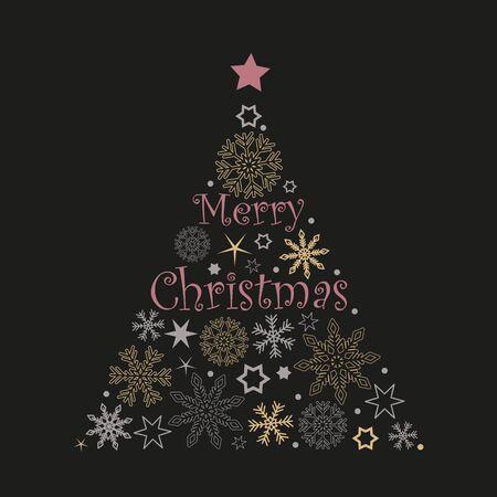 Árbol de navidad copos de nieve y estrellas en colores rojo y gris sobre fondo blanco ilustración vectorial EPS10