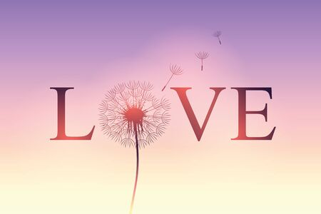 love typography with dandelion on purple sky background vector illustration EPS10