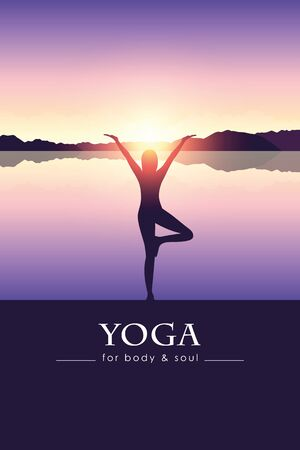 yoga for body and soul meditating person silhouette by the lake with mountain landscape vector illustration