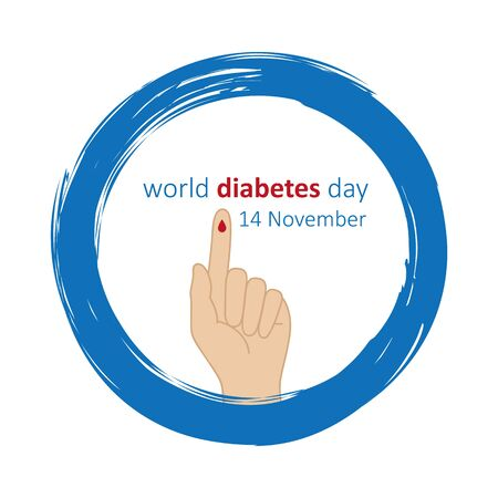 blue circle and finger with blood drop world diabetes day 14 november vector illustration 写真素材 - 131968352