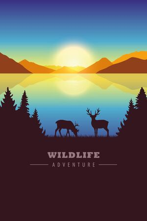 wildlife adventure elk in autumn landscape by the lake at sunset vector illustration