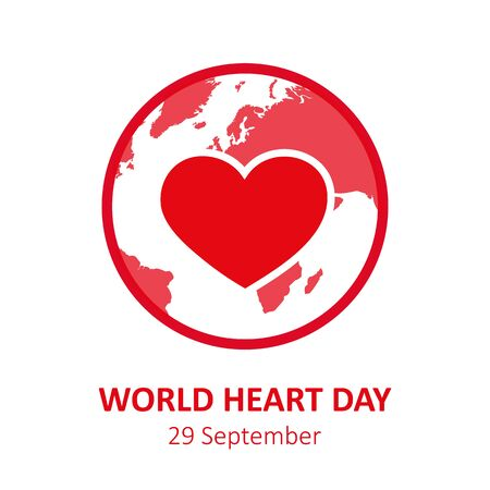 world heart day heartbeat cardiography graphic with earth vector illustration