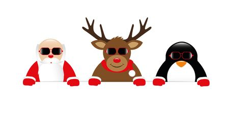 cool reindeer santa claus and penguin cartoon with sunglasses vector illustration EPS10