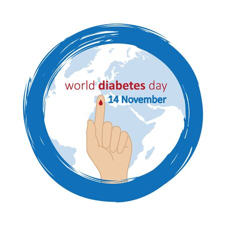 blue circle and finger with blood drop world diabetes day 14 november vector illustration