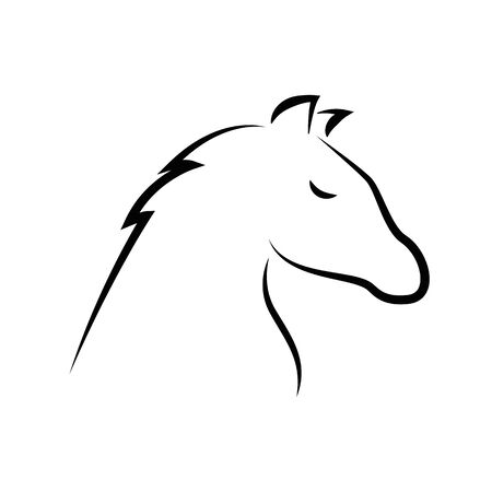 horse outline drawing isolated on white background vector illustration Çizim