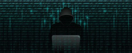 computer hacker in matrix cybercrime concept with binary code web background vector illustration EPS10