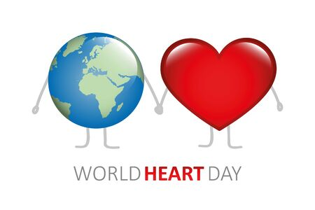 world heart day earth and heart holding hands cartoon vector illustration