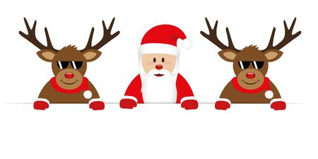 smiling happy santa claus and cool reindeer with sunglasses christmas cartoon vector illustration EPS10