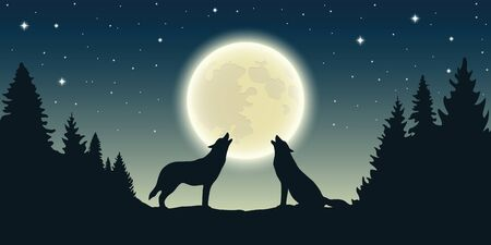 two wolves howl at the full moon in forest landscape vector illustration Иллюстрация