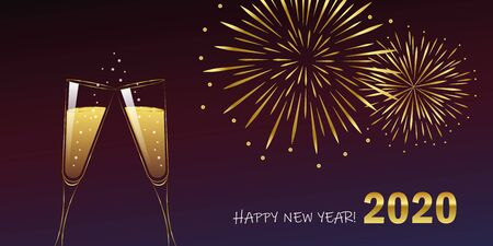 happy new year celebration fireworks and champagne 2020 vector illustration Иллюстрация
