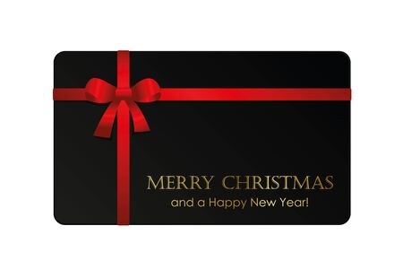 black christmas gift card with red bow vector illustration