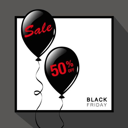 Black Friday sale black balloons advertising vector illustration EPS10 Ilustração