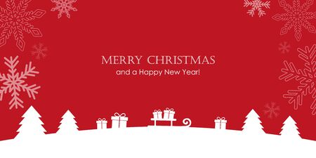 red christmas greeting card with firs gifts and snowfall vector illustration EPS10 写真素材 - 132426324