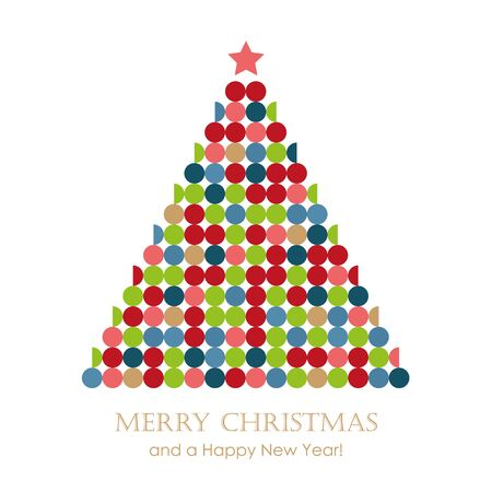 abstract christmas fir tree with circles vector illustration 写真素材 - 132782918