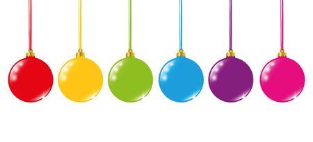 rainbow colored christmas balls vector illustration
