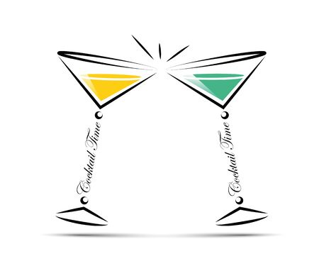 toasting with cocktails line icon vector illustration
