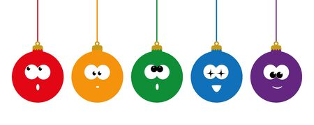 funny set of christmas bauble with cute face vector illustration EPS10