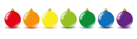 set christmas bauble rainbow color vector illustration