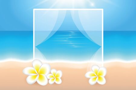 sunny day on the beach summer holiday background with frangipani tropical flowers vector illustration Ilustração