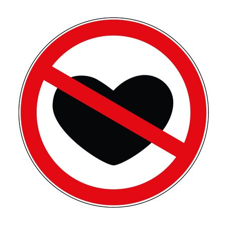 heart crossed out prohibited warning sign icon vector illustration Ilustração