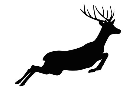 jumping deer silhouette isolated on white background vector illustration EPS10